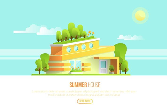 Thumbnail for Summer House - Vector Landscape & Building