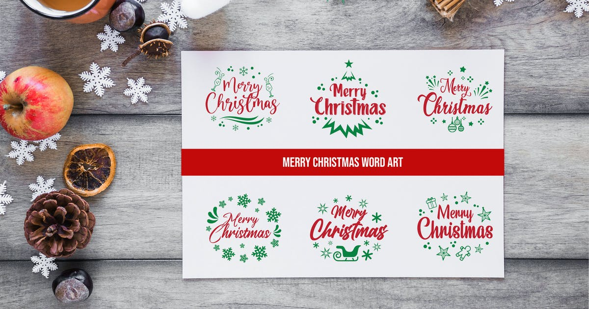 Download Sets of Christmas Typography by nanoagency