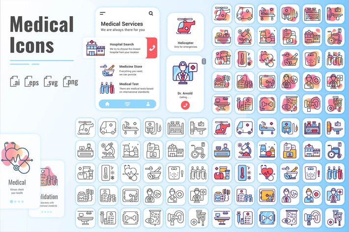 Thumbnail for 30 Outline Iconset Medical with 3 styles