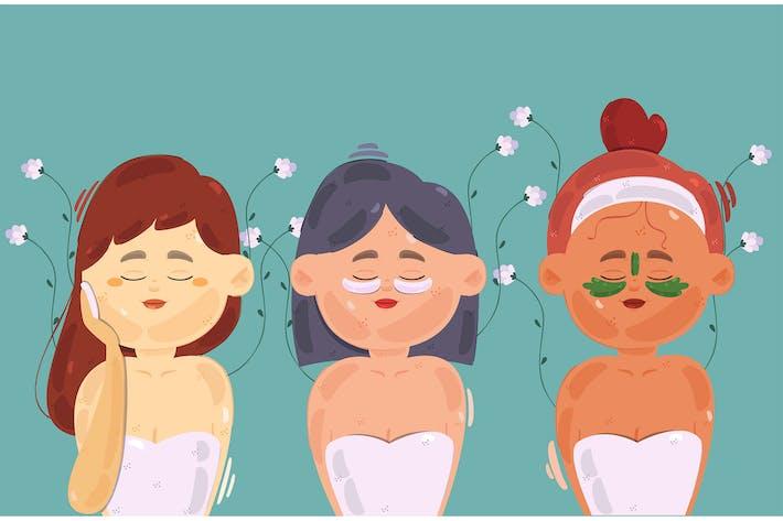 Frau Skincare Routinemäßige Illu