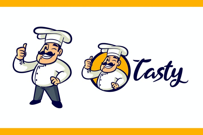 Thumbnail for Cartoon Retro Chef Character Mascot Logo