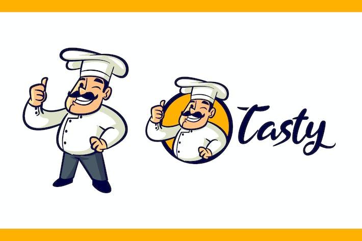 Cartoon Retro Chef Character Mascot Logo
