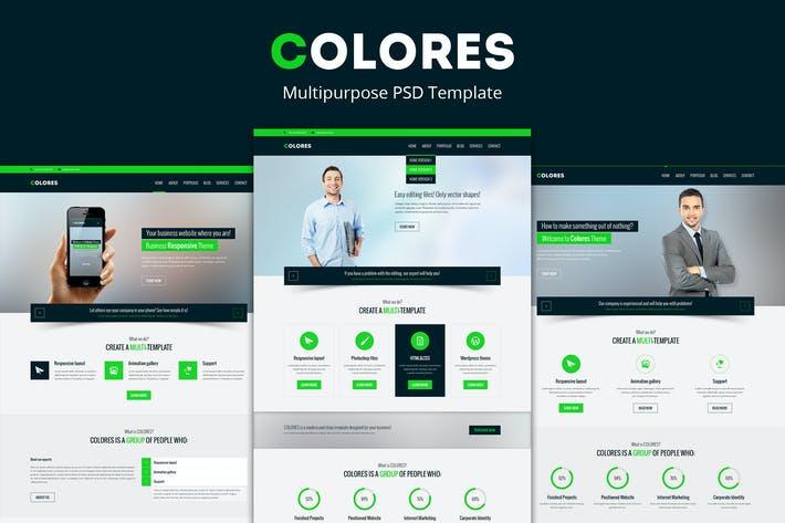 Thumbnail for Colores – Multipurpose PSD Template