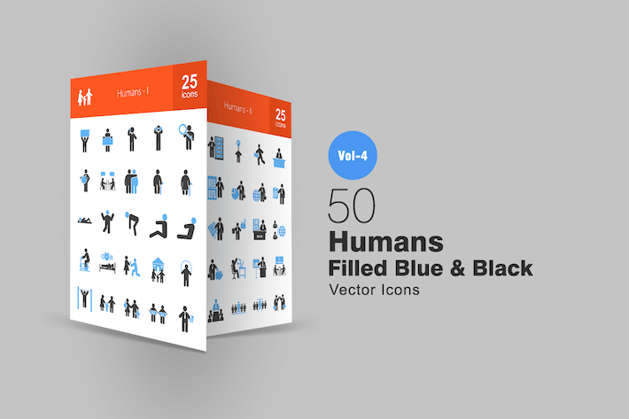 Thumbnail for 50 Humans Blue & Black Icons