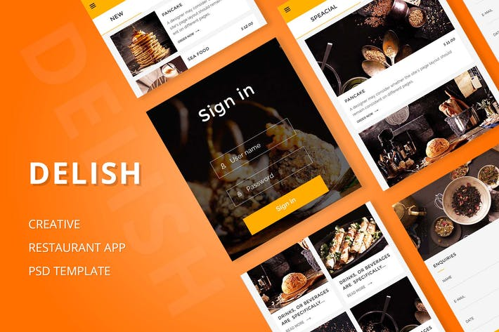 Thumbnail for Delish - Creative Restaurant Mobile APP PSD