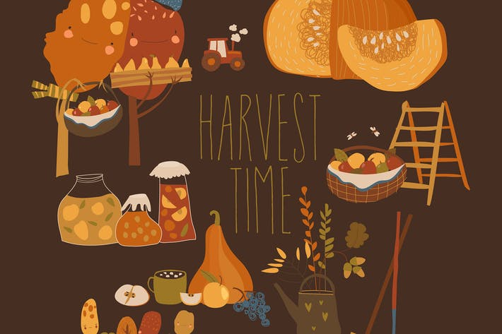 Thumbnail for Vector set of harvesting time. Hello autumn