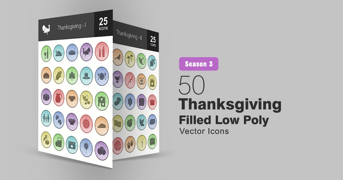 Download 50 Thanksgiving Filled Low Poly Icons by IconBunny