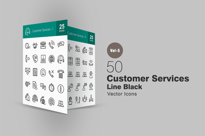 Thumbnail for 50 Customer Services Line Icons