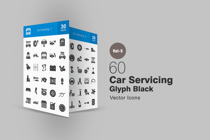 Cover Image For 60 Car Servicing Glyph Icons