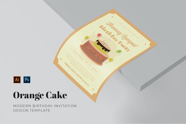 Orange Cake Birthday Invitation