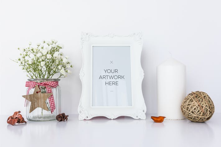 Thumbnail for White Frame Mockup with Candle & Flowers