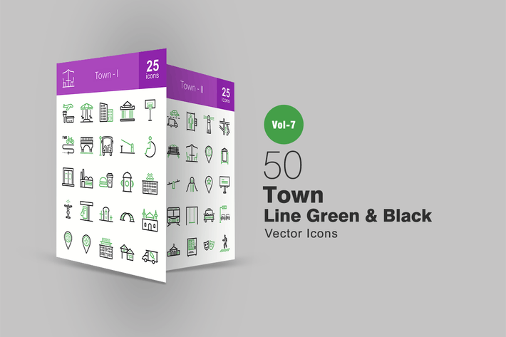 Thumbnail for 50 Town Green & Black Line Icons