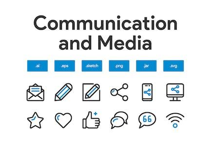 Communication and Media Icon Set