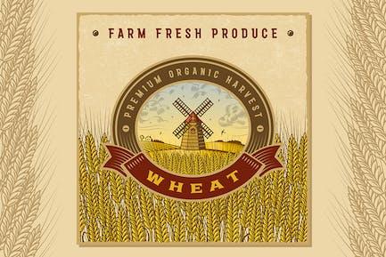 Vintage Colorful Wheat Harvest Label