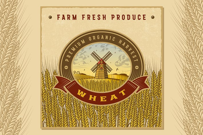 Thumbnail for Vintage Colorful Wheat Harvest Label