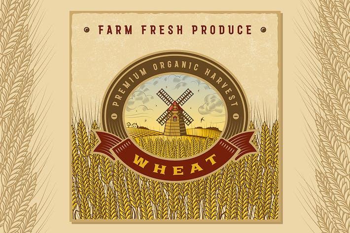 Thumbnail for Etiqueta de cosecha de trigo de colores Vintage.
