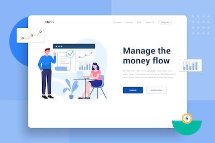 Money Flow management header Illustration