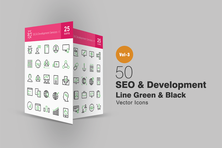 Thumbnail for 50 SEO & Development Line Green & Black Icons
