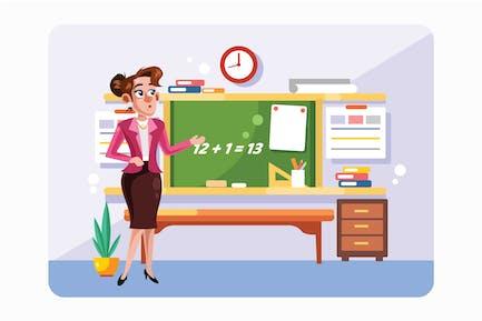 Teacher in Front of Chalkboard Vector Illustration