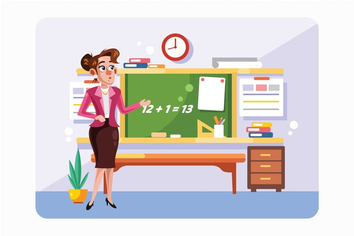 Thumbnail for Teacher in Front of Chalkboard Vector Illustration
