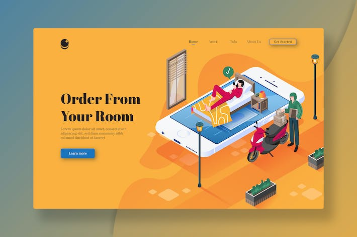 Thumbnail for Order From Your Room - Isometric Landing Page