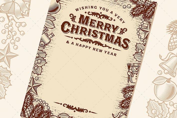 Tarjeta de felicitación de Navidad vintage con espacio de copia marrón