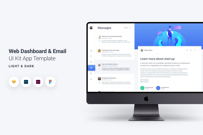 Thumbnail for Web Dashboard & Email UI Kit App Template 2