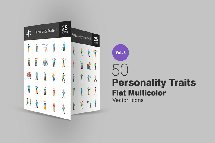 Thumbnail for Personality Traits Flat Multicolor Icons