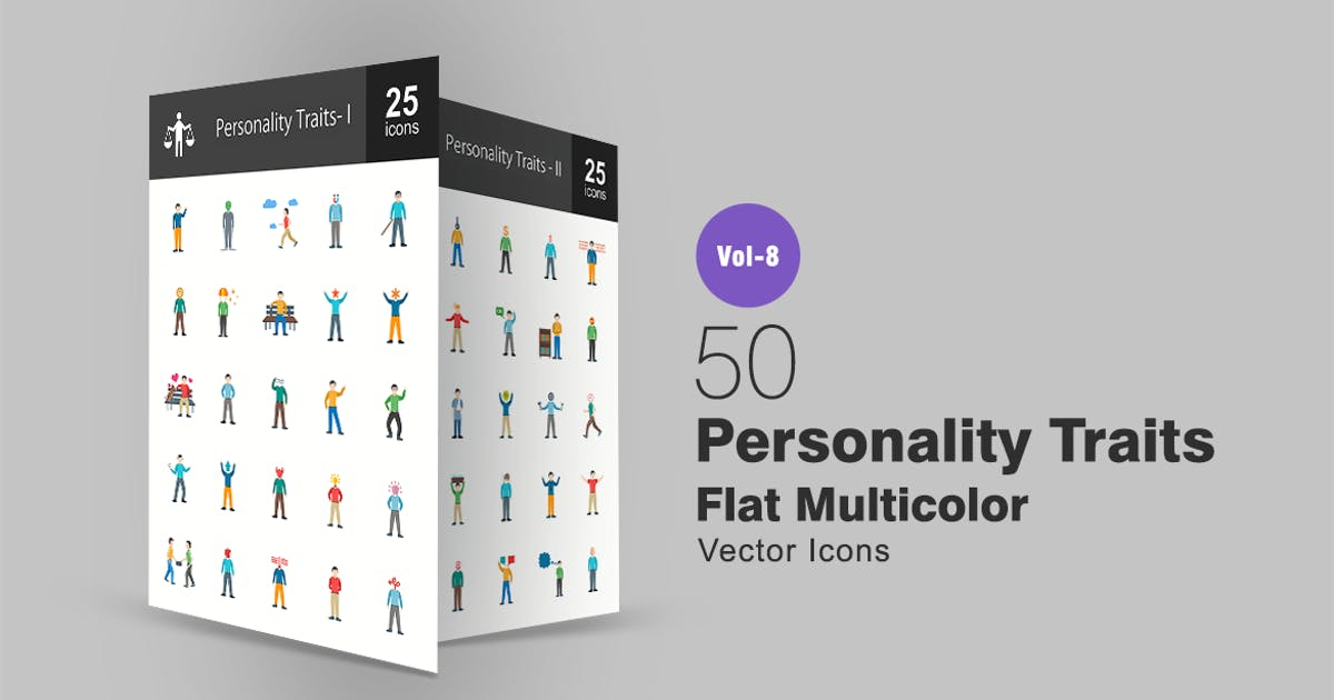 Personality Traits Flat Multicolor Icons by IconBunny