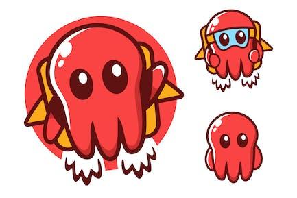 Fliegende Krake Maskottchen Cartoon Charachter