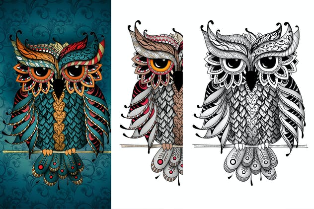 Owl in dudling style - product preview 0