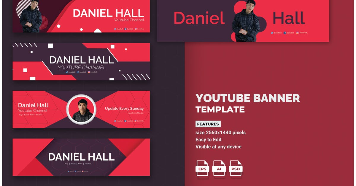 Download Modern Youtube Banner Template by inspirasign
