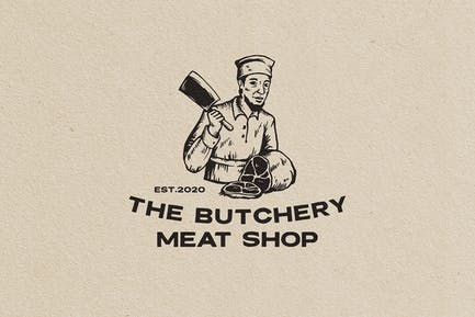 The Butchery Vintage Logo Character