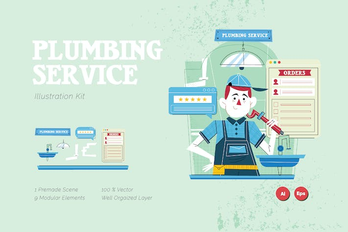 Thumbnail for Plumbing Service Graphics Illustration