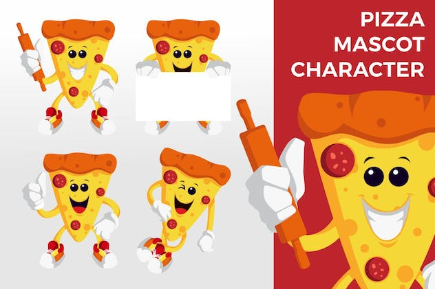 Pizza Mascot Character Set - product preview 3