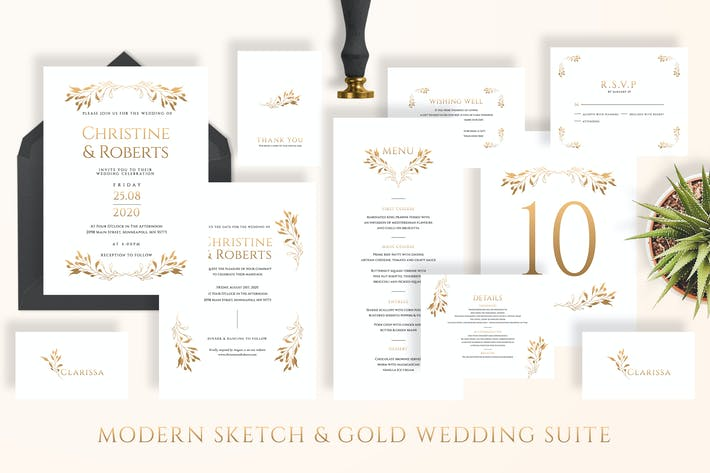 Thumbnail for Modern Sketch & Gold Wedding Suite