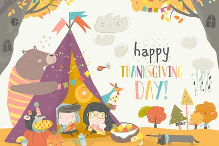 Cute kids celebrating Thanksgiving day with animal