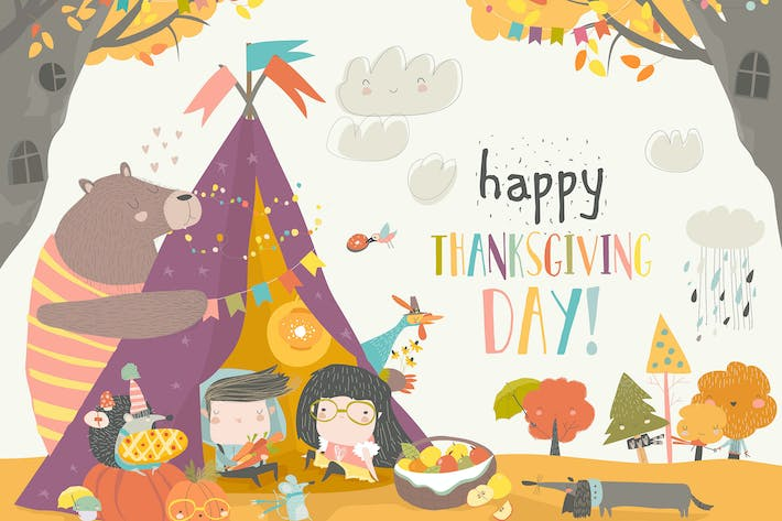 Thumbnail for Cute kids celebrating Thanksgiving day with animal