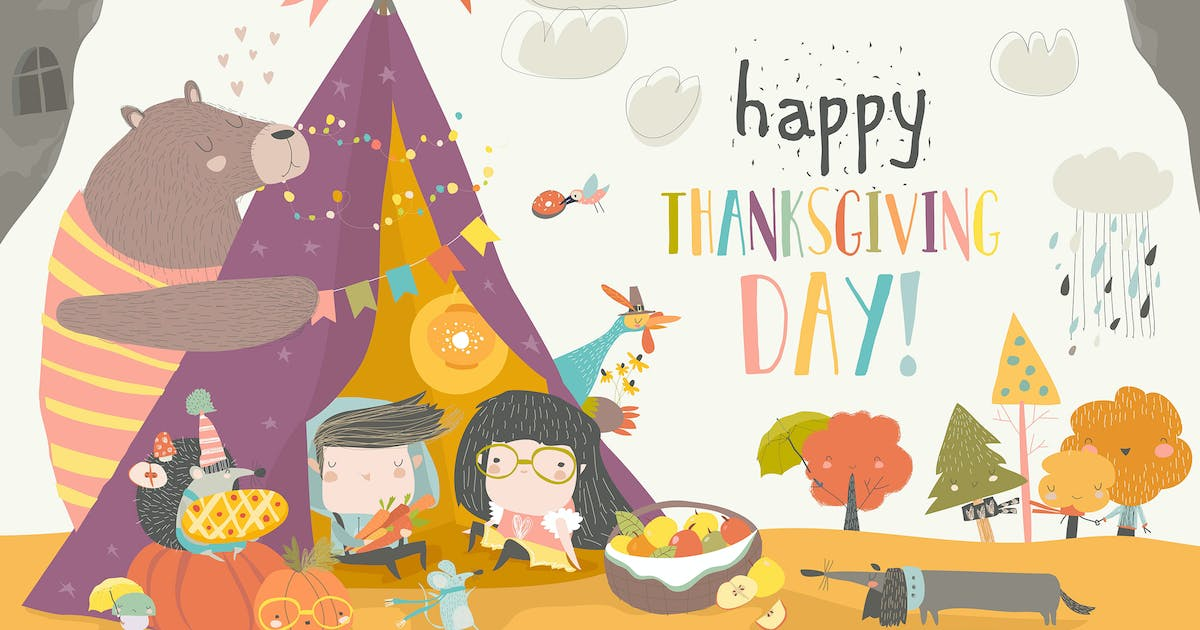 Download Cute kids celebrating Thanksgiving day with animal by masastarus