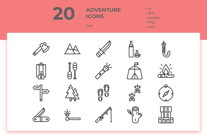Thumbnail for 20 Adventure Icons (Line)