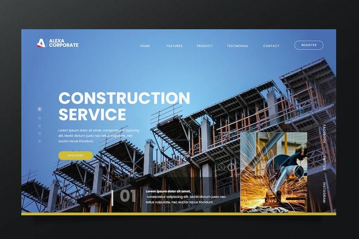 Thumbnail for Construction Service Web Header PSD and AI Vector