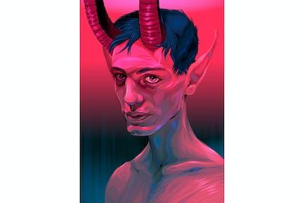 retrato de un diablo chico
