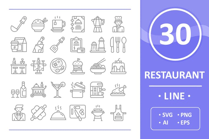 Thumbnail for 30 Restaurant Icons - Line
