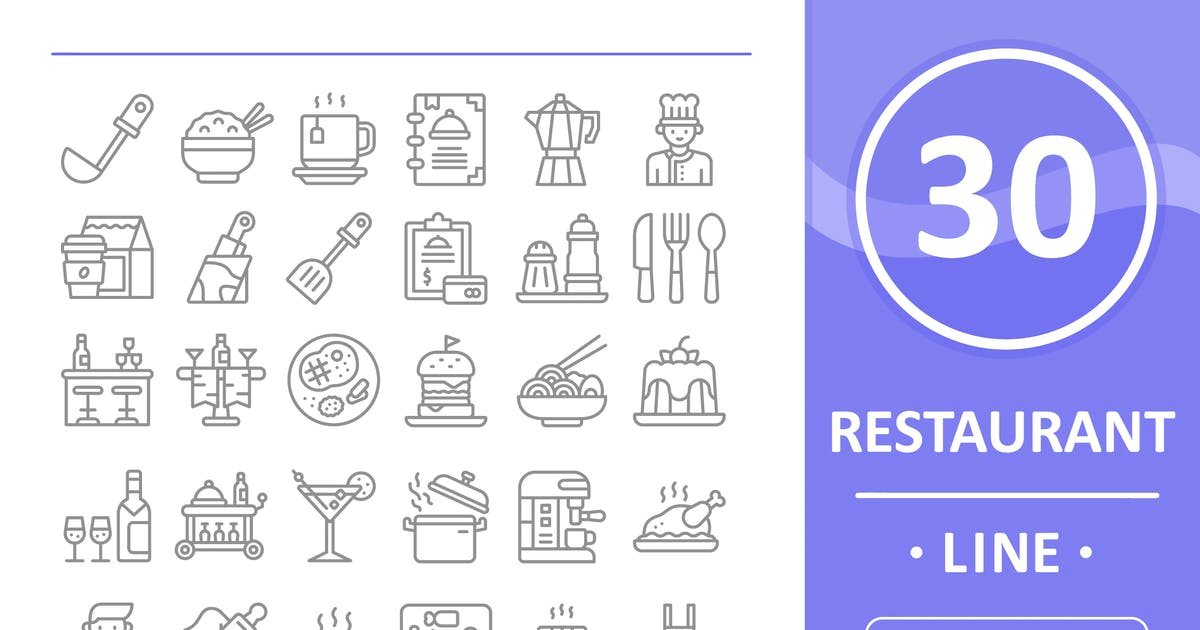 Download 30 Restaurant Icons - Line by vectorizone