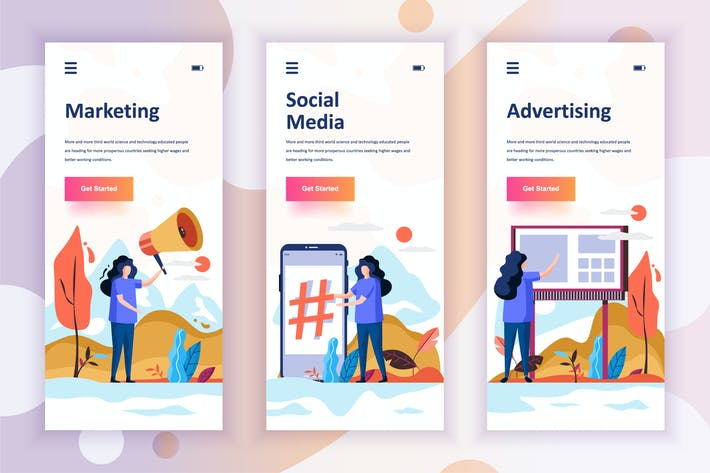Thumbnail for Instagram Stories Onboarding Screens Aplicación Móvil