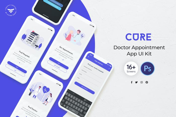 Thumbnail for Cure: Doctor Appointment Mobile App UI Kit