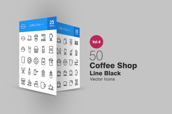 Cover Image For 50 Coffee Shop Line Icons