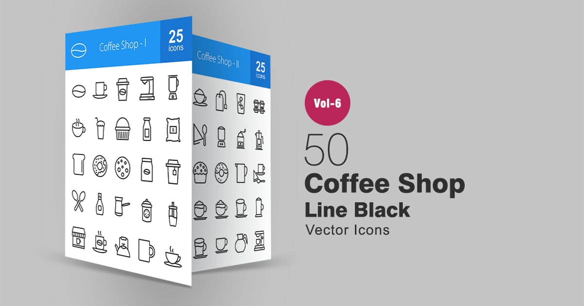 Download 50 Coffee Shop Line Icons by IconBunny