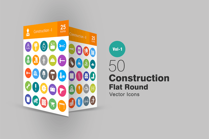 Thumbnail for 50 Construction Flat Round Icons