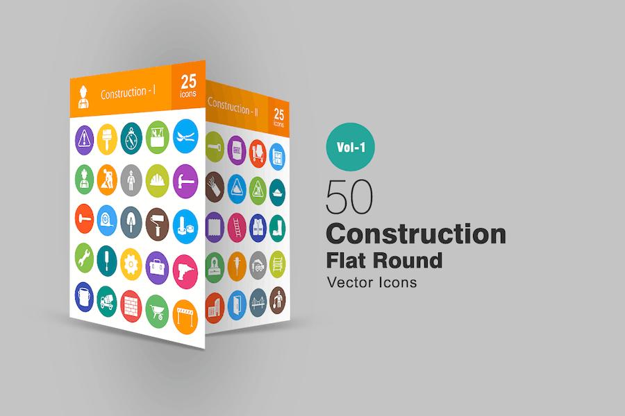50 Konstruktion flache runde Icons